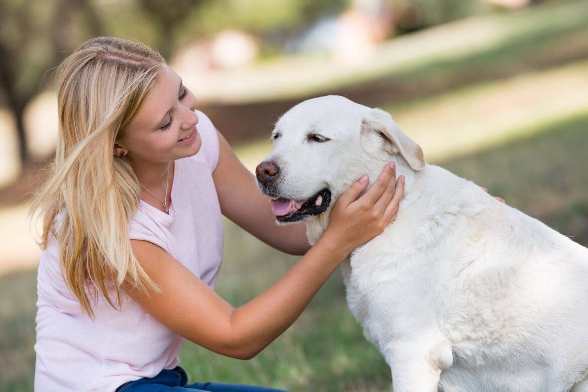 image-blond girl petting older dog